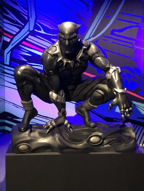 black panther statute at Marvel Universe of Super Heroes at the Franklin Institute