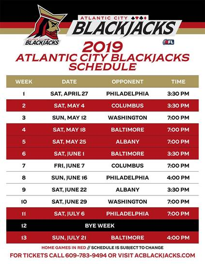 Atlantic City Blackjack Schedule of Arena Football Games