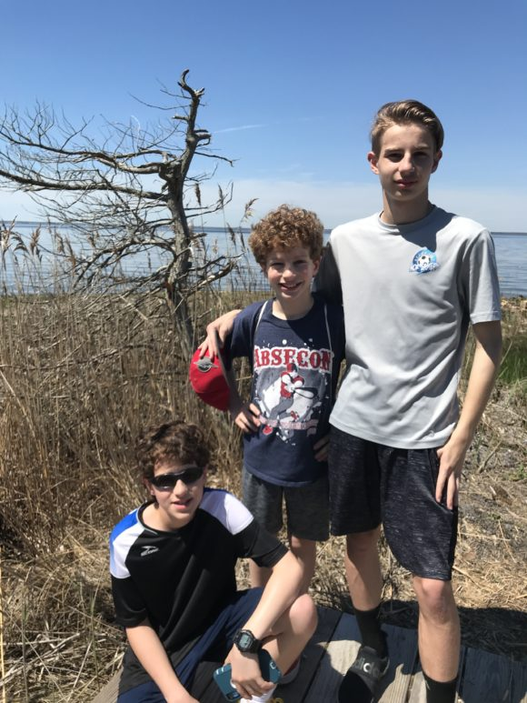 Boys on hiking trail at Island Beach State Park