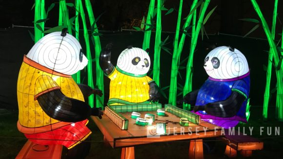 Lantern of pandas playing a board game at Philadelphia Chinese Lantern Festival