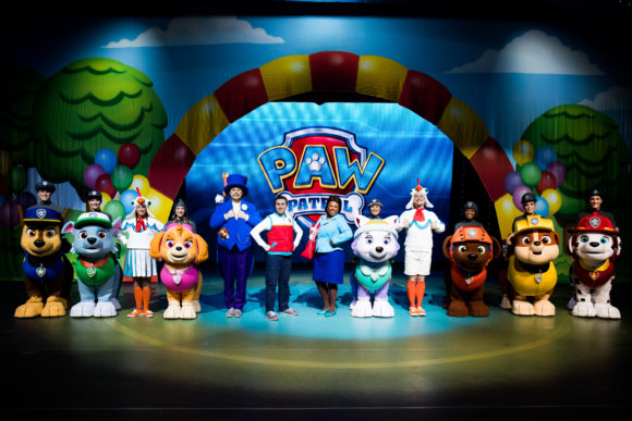 Cast of dogs and actors in Paw Patrol Live Race to the Rescue in Atlantic City