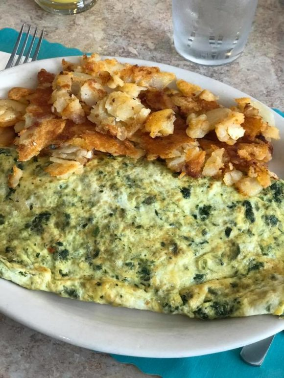 Wildwood Adventurer Oceanfront inn Pancake House and Family Restaurant spinach and cheese omelette.