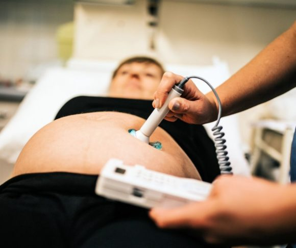 pregnant mom getting ultrasound exam 2