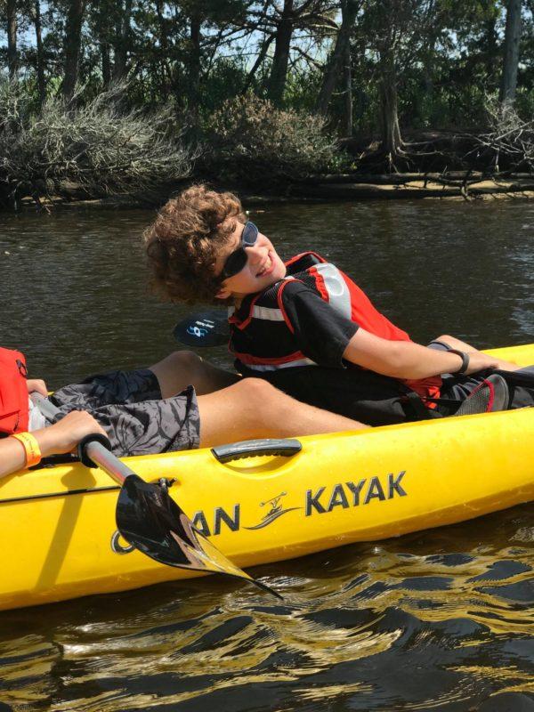 Boys kayaking at Tuckerton Seaport