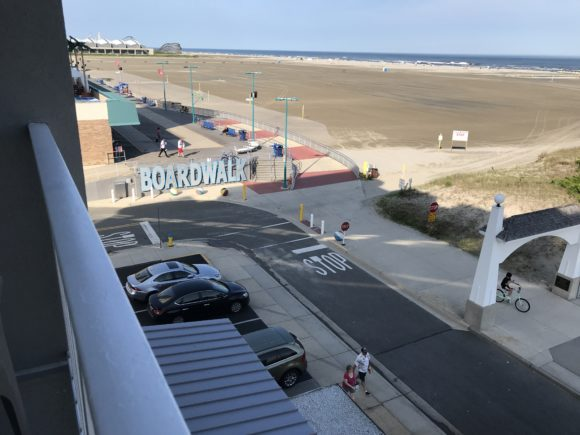 View from hotel room at the Adventurer Oceanfront Inn hotel in Wildwood Crest