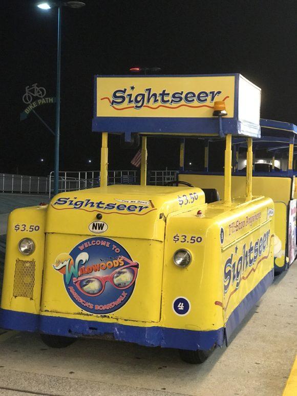 Wildwood Tram Car on Wildwood Boardwalk at night