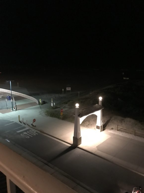 Nighttime view from the hotel room balcony at the Adventurer Oceanfront Inn hotel in Wildwood Crest