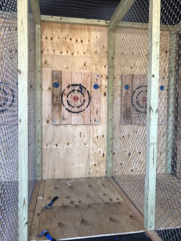 Flying Hatchets axe throwing activity in Wildwood