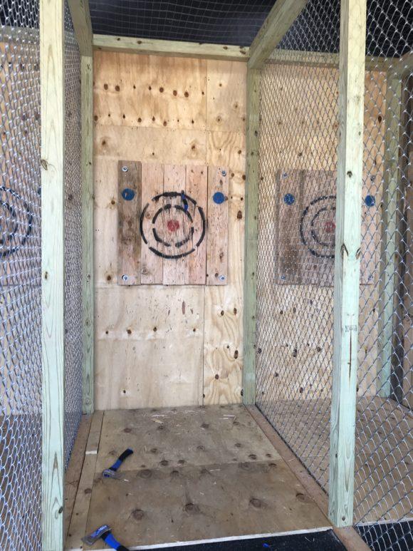 Flying Hatchets axe throwing activity in Wildwood