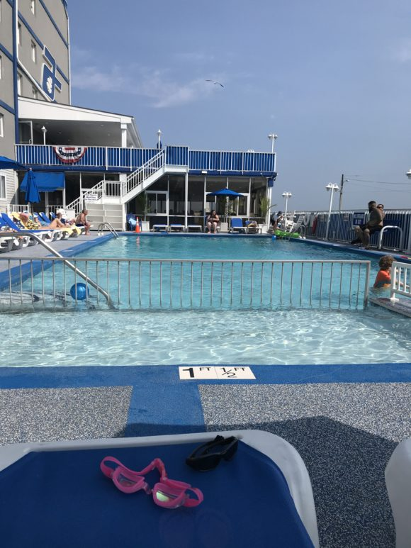 outdoor hotel pool at Adventurer Oceanfront Inn in wildwood