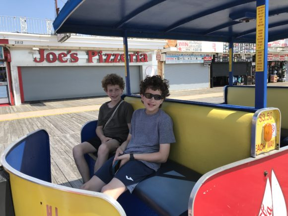 Boys on Wildwood Tram Car on Wildwood Boardwalk