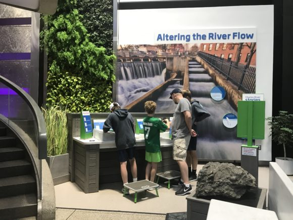 alternating the river flow exhibit at the Boston Museum of Science