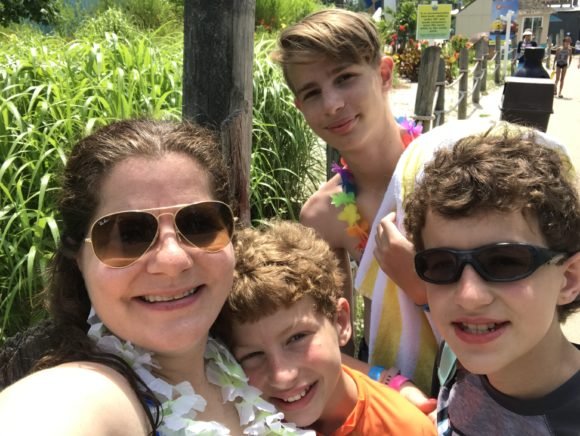 family picture at Six Flags Hurricane Harbor in Jackson, New Jersey