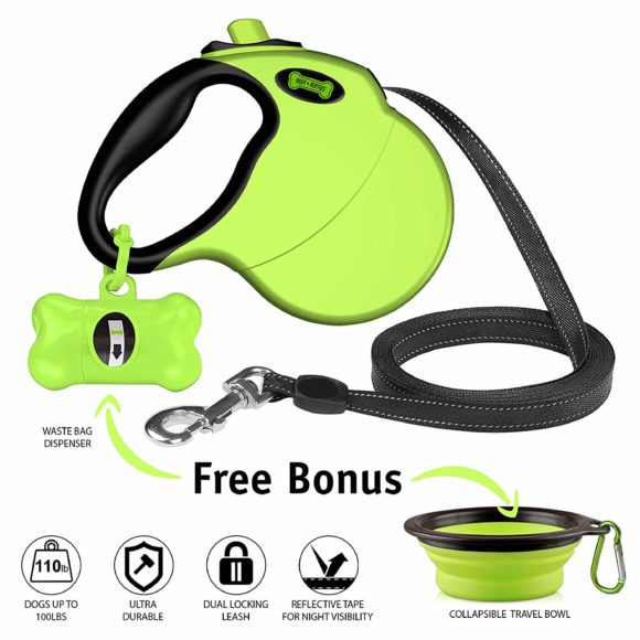 Rectractable dog leash that comes with waste bag dispenser and travel dog bowl.