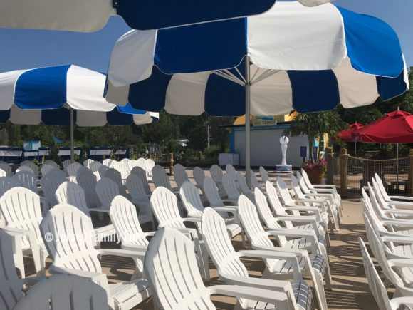 The new pool at Hurricane Harbor offers lots of seating in the shade.