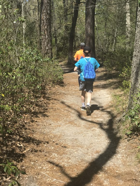 two boys hike at Parvin State Park