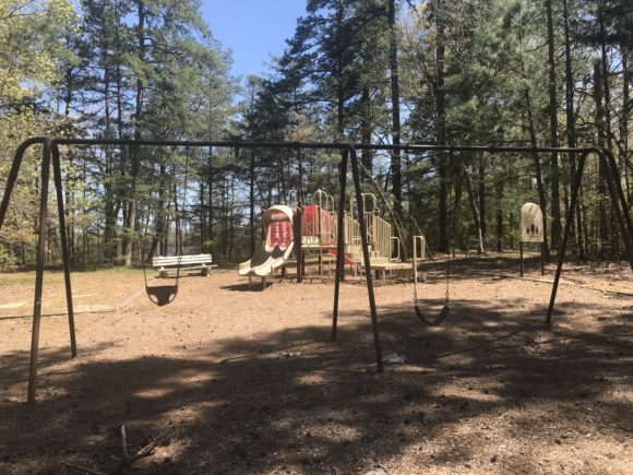 The playground at the Jaggers Point Camping area at Parvin State Park