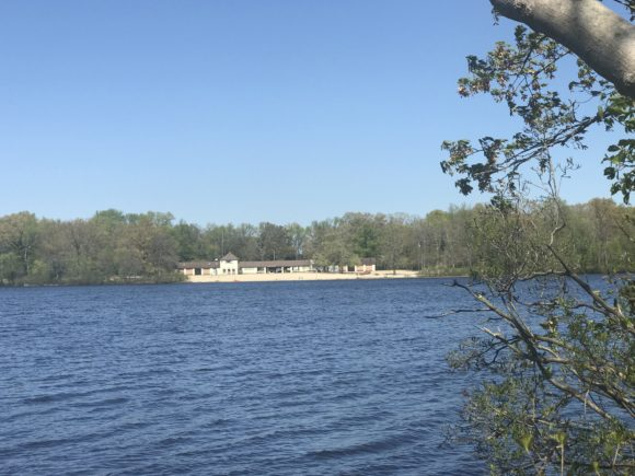 view of beach across Parvin Lake at Parvin State Park