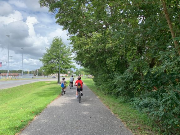 riding bikes in Somers Point on bike path