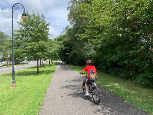 Boy biking the Somers Point Linwood Bike Path