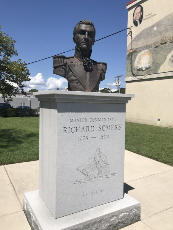 Statue bust or master Commandant richard somers in Somers Point