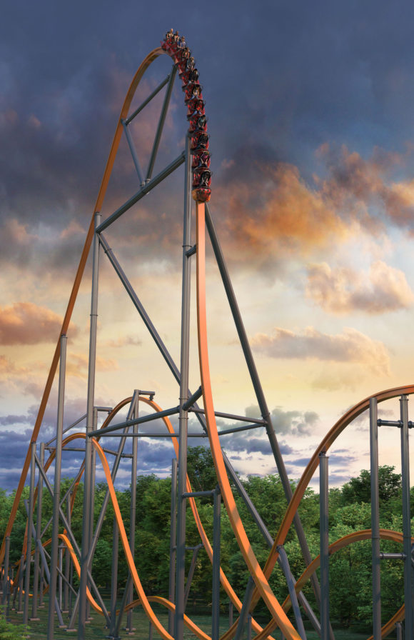 key art of first drop of Jersey Devil Coaster at Six Flags Great Adventure