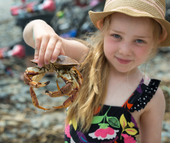 young girl with crab
