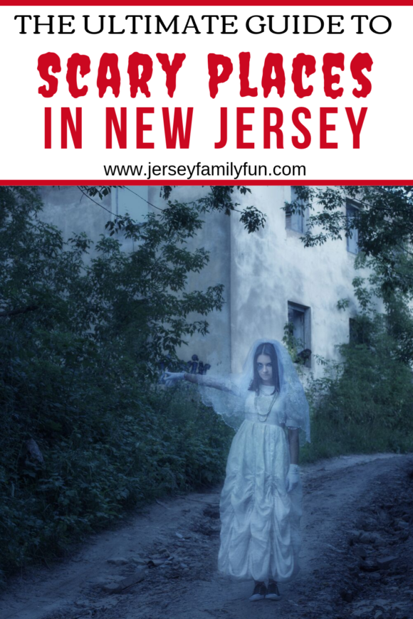 A ghost creeps down a pathway - Scariest places to visit in New Jersey pinterest images