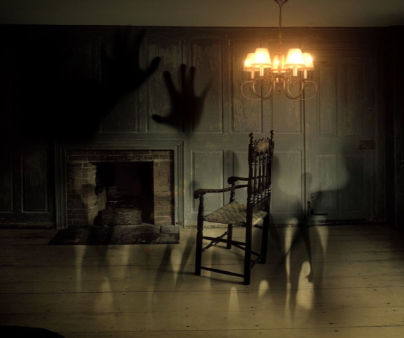 inside a haunted house's living room