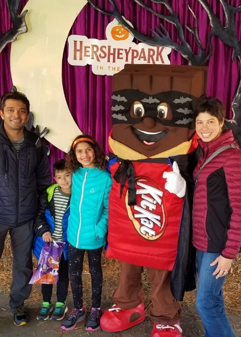 family picture at Hersheypark in the Dark with Super Kit Kat