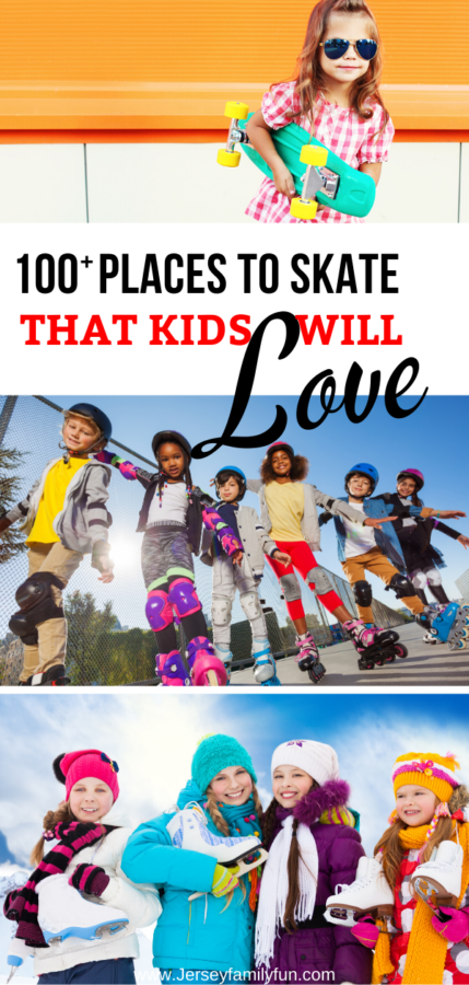 collage of 3 pictures of 100 places in New Jersey that kids love to skate