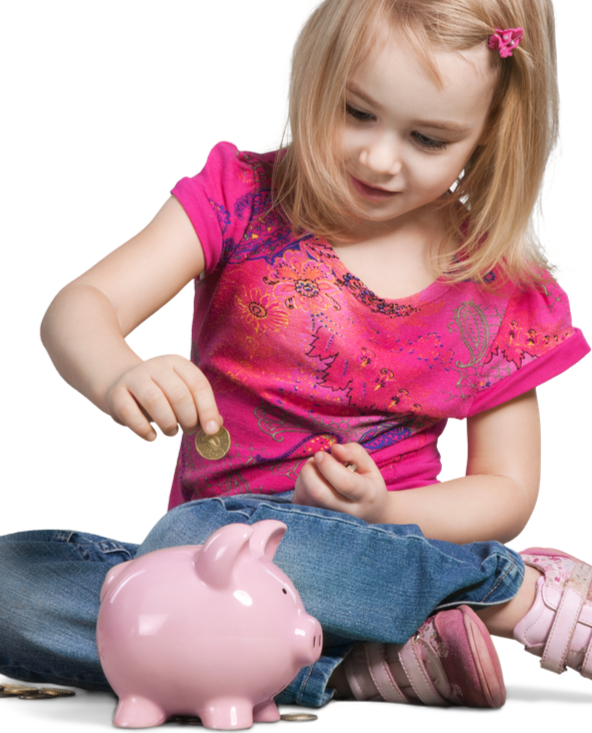 young child saving money in a piggy bank