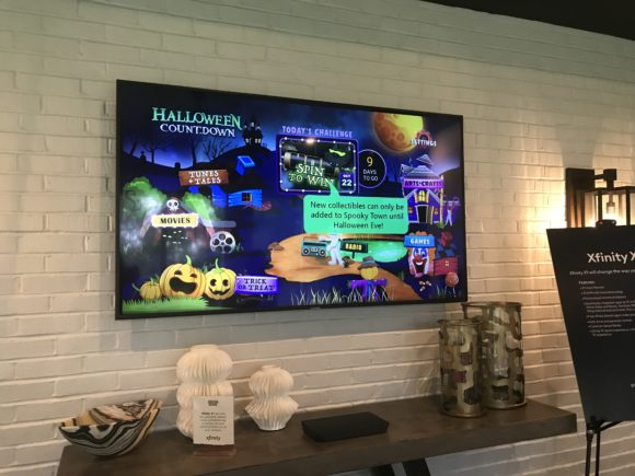 Xfinity Halloween Countdown is showing on a tv screen in Philly Magazine Design Home