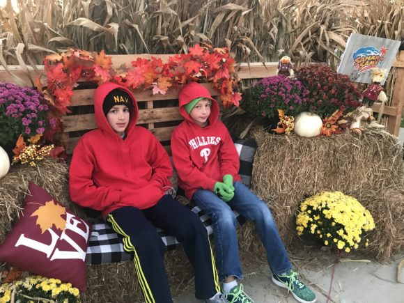 fall themed photo opp at Sahara Sam's in New Jersey