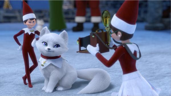 Two Elf on the Shelf elves with the Elf Pet Fox Nola