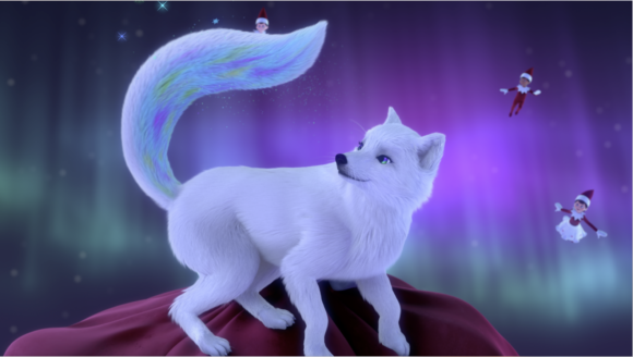 animated image of Elf Pet, Nola the fox surrounded by elves