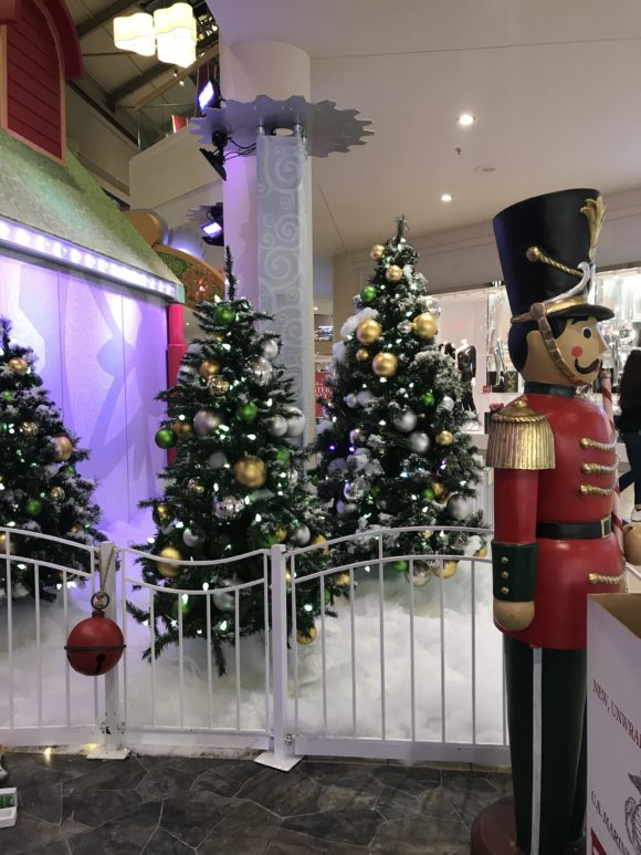Christmas background with Christmas Trees and Toy Soldier at the Freehold Raceway Mall in New Jersey