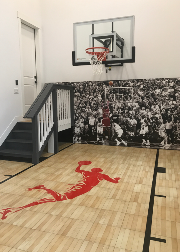 Philly Design Mag home with basketball court in garage