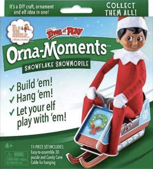 New Elf on the Shelf product Orna-Moments: Snowflake Snowmobile
