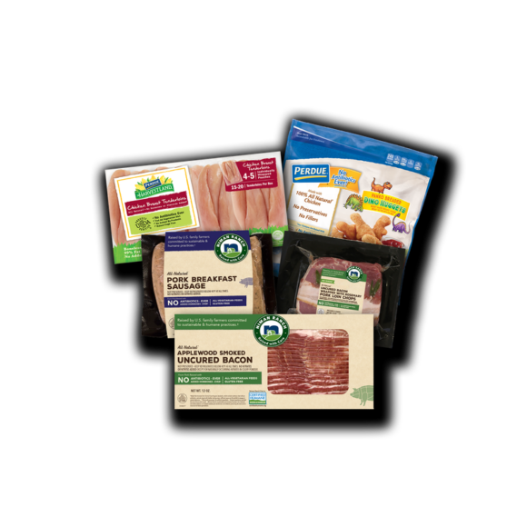 Perdue Farms delivers to New Jersey medium bundles of family food like chicken, pork, and bacon/