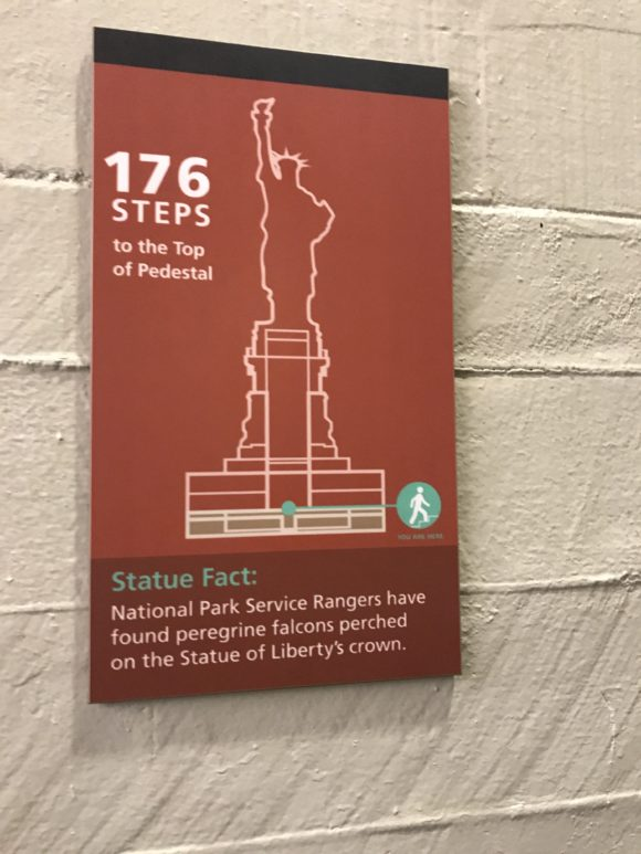 Signage inside the Statue of Liberty reveals interesting facts about the statue