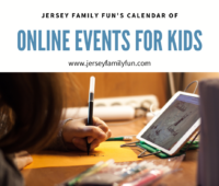 image of kid learning to draw from a tablet for Jersey Family Fun Calendar of online events for kids