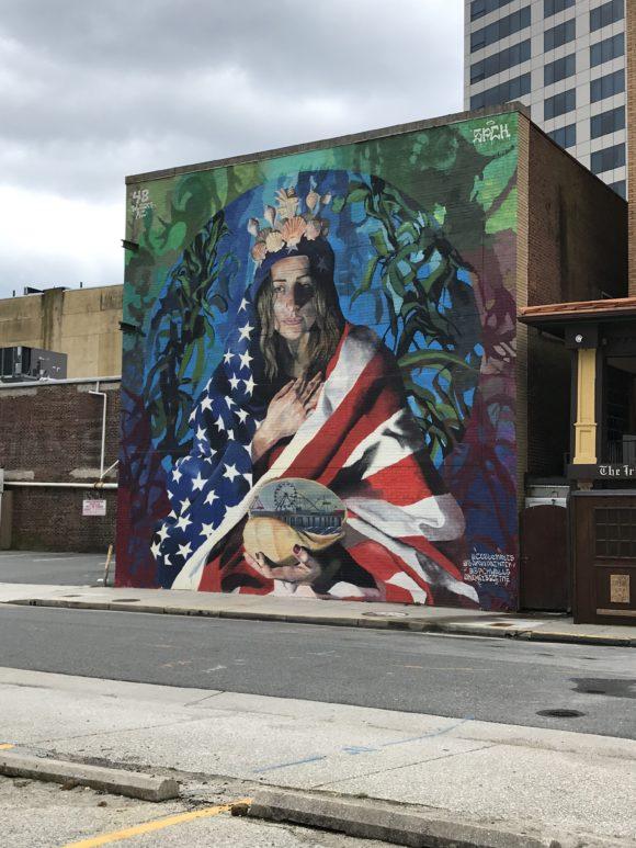 COSBY HAYES SARAH PAINTER Dissent is Patriotic Irish Pub mural in Atlantic City
