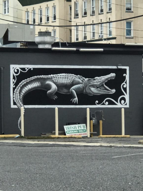 Black and white alligator mural painted by Pork Chop in 2018. Located at Bourre in Atlantic City.