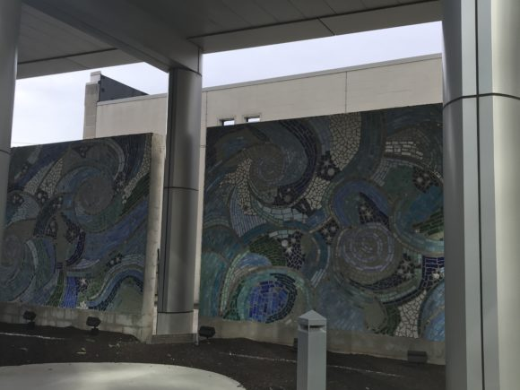 Ocean of Reflection glass mosaic mural at the entrance of Atlantic City Medical Center.