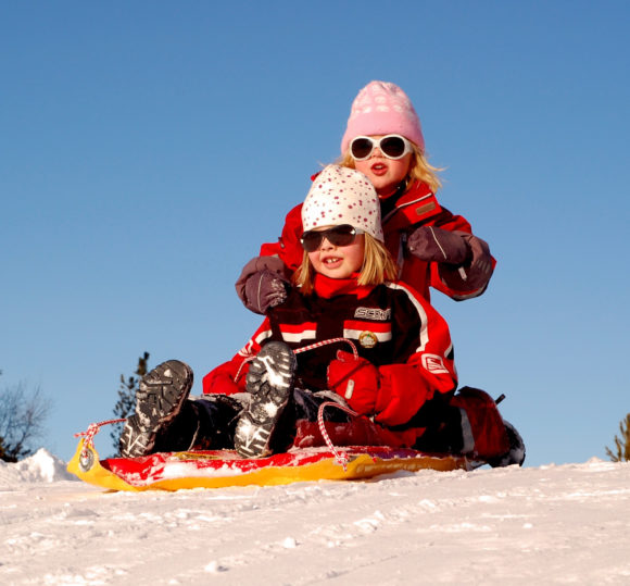 Kids on a sledding hill in New Jersey