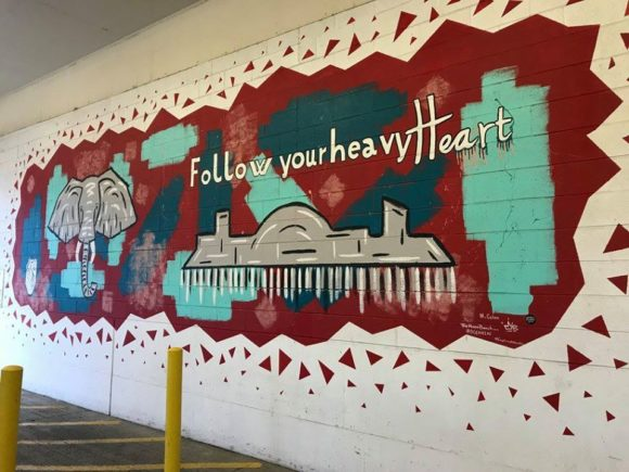 Heavy Hearts Mural that is part of the Atlantic City Murals at the Noyes Museum Arts Garage