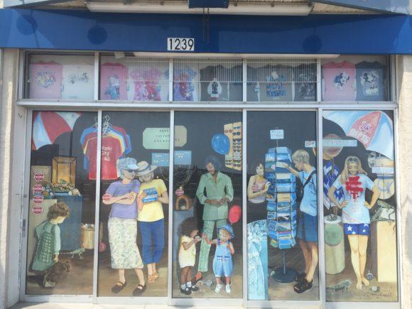 Irene's on the Boardwalk mural in Atlantic City painted by Linda Wexler.