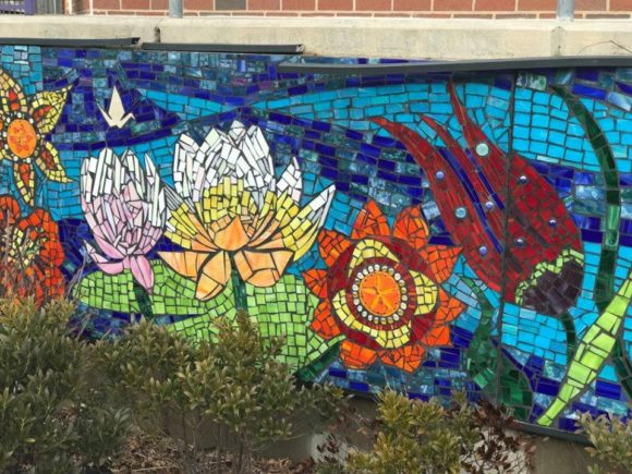 Mosaic glass mural at the Noyes Museum Arts Garage