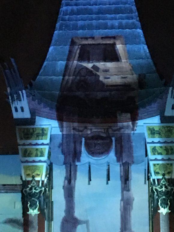 ATT projected onto building for Star Wars Galactic Spectacular at Walt Disney World Hollywood Studios.